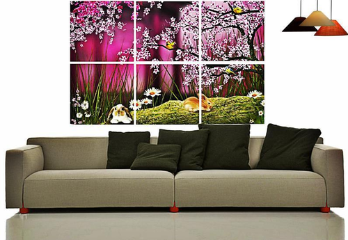 Canvas Split Wall Art Set Of 6 - Cherry Blossom at Rs 4200 /piece ...