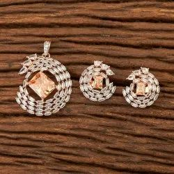 Cz Bollywood Rose Gold Pendant Set 400832