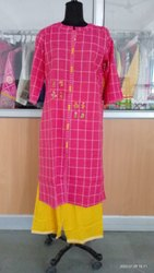 rayon slub Casual Wear Full Sleeve Ladies Kurti, Wash Care: Machine wash