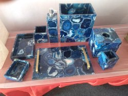 Blue Agate Bathroom Set Natural Gemstone Bathroom Set