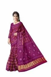 All Over Magenta Color Fancy Design Art Gaji Silk Bandhani Saree