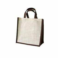 Chocolate And White Plain Jute Gift Bags