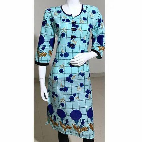 Blue Casual wear Flower Print Embroidery Kurti