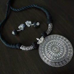 Silver Oxidized Pedant Threaded Necklace Set