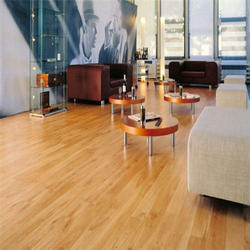 Grey Residential Building Laminated Wooden Flooring Services, For Indoor, Thickness: Variable