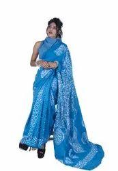 Sky Blue Printed Cotton Saree