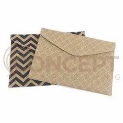 Brown Fancy Jute Envelope, For Office, Packaging Type: Box