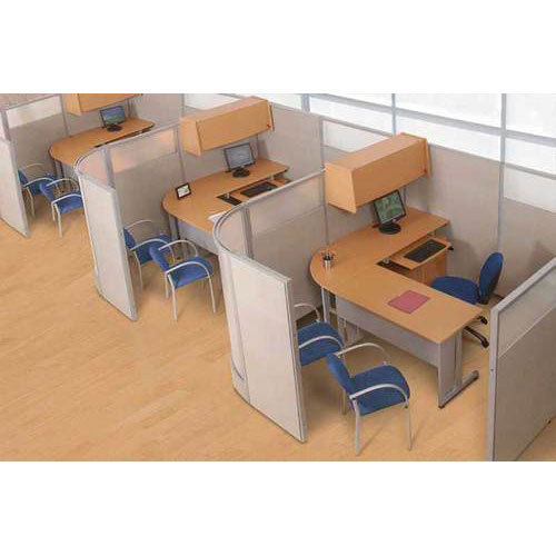 Aluminum And Plywood Corner Office Workstation