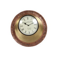 Antique Look Wooden & Brass Clock