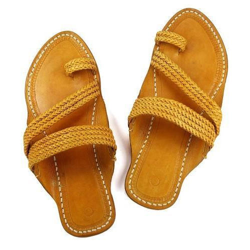 418a684bae77 Leather Braided Kolhapuri Chappal