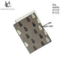 Linen File Folder - Black and Cream White Small Pineapple Print
