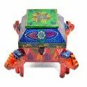 Wooden 4 Corner Elephant Dry Fruit Box