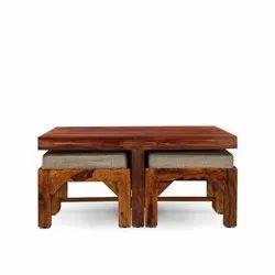Stylofurnish Wooden Kaijelia Coffee Table With Four Stools Walnut, Size: 35x18 inch