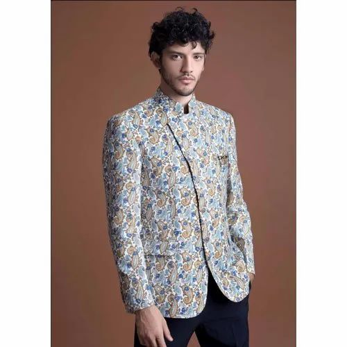 Party Mens Printed Jodhpuri Suit