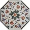 White Makrana Marble Stone Inlaid Coffee Table Top