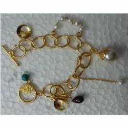 Pearl Charm Designer Gold Filled Bracelet