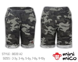 Minimico Boys Camouflage Print Knitted Shorts in Cotton French Terry
