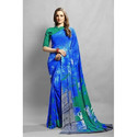 Blue-Green Crepe Saree