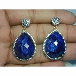 Dyed Blue Sapphire CZ Set Earring