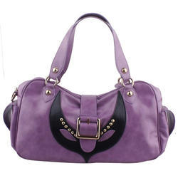 Purple and Black Synthetic Leather Ladies Purse