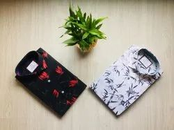 Black and White Printed Casual Shirt