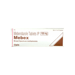 Mebex Mebendazole Tablets, 20X7X6 tablets