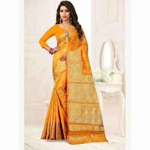 3007202d14db1 Banarsi Silk Wedding And Party Golden Yellow Color Banarasi Silk Saree