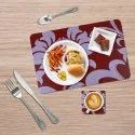 Red and White Table Mat with Coaster