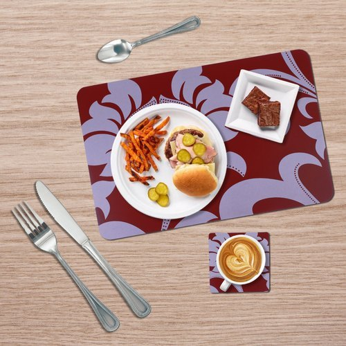 Decor Emporia Rectangle(Mat),Square(Coaster) Floral Print Table Mat With Coaster Set