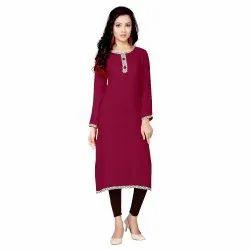 Vimlanath Synthetics Cotton Women Solid Straight Kurta (Brown)