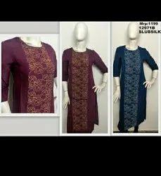 Silk Designer Kurta With Zari Embroidery