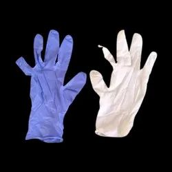 White And Blue Rubber Disposable Safety Gloves, Packaging Type: Packet