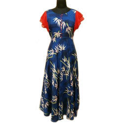 Ladies Cotton Printed Contemporary Gown, Size: S - XL