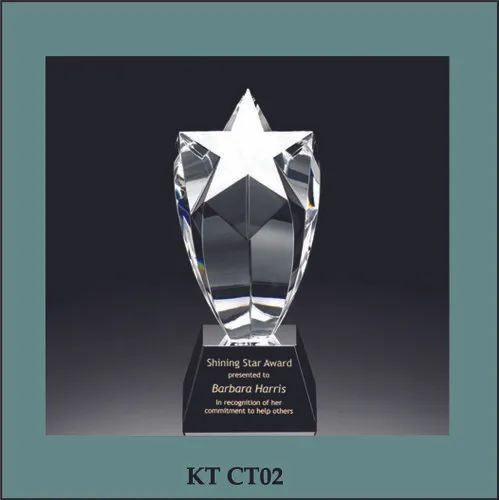 Transparent Star Crystal Trophy, Size: 8 Inch