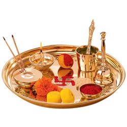 Copper Round Pujan Thali, For Worship