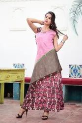 Round Neck Ladies Designer Kurtis