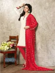 White Colored Chanderi Embroidered Un-Stitched Salwar Suit
