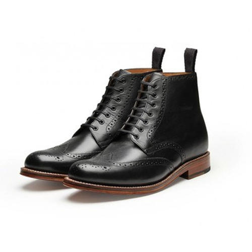 Casual Mens Leather Brogue Boot Leather