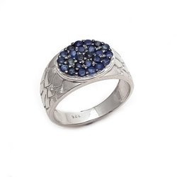 Blue Sapphire Natural Round Hot Birth Magic Mens Finger Royal Looking Fine 925 Ring