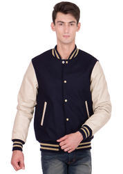 Black Wool Body with Off white Leather sleeves Varsity - Men