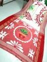 Khadi Cotton Printed Temple Work Sarees