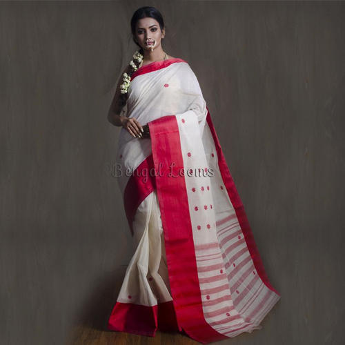 492210fcba Pure Bengal Handloom Cotton Saree in White and Red, Bengal Cotton ...
