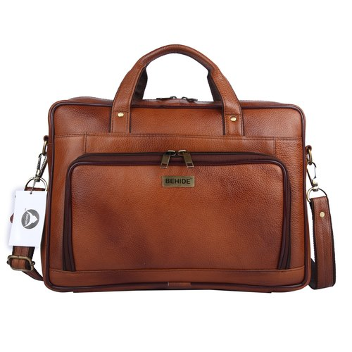 9672b14e736a Behide Tan Genuine Leather Handmade Men Laptop Bag Cross Over Shoulder  Messenger Bag Office Bag (bhl
