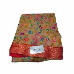 Party Wear Jhilmil Printed Brasso Saree, 6.3m, With Blouse Piece