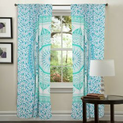 Handicraftofpinkcity Blue Mandala Print Door Curtains