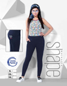 Cotton Regular Fit Ladies Navy Blue Solid Ankle Pant