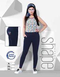 Ladies Navy Blue Solid Ankle Pant
