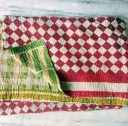 Red And White Vintage Kantha Quilt