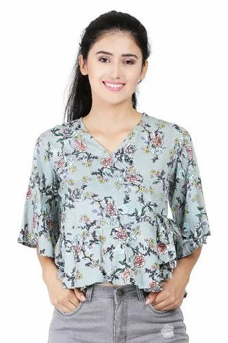 Galaxy Trendz Grey Girls Rayon Printed Western Top