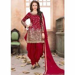 Cotton Ladies Embroidered Punjabi Suits